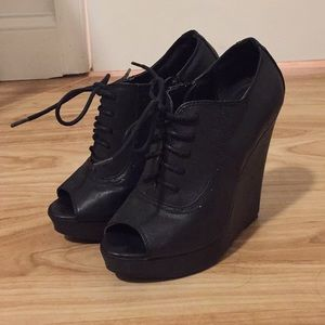Cupid black booties with open toe